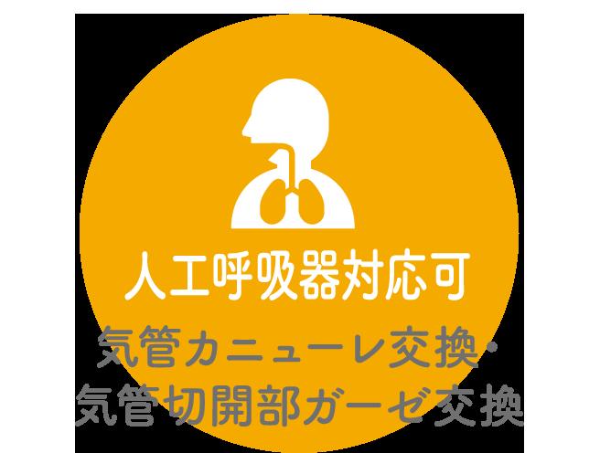人工呼吸器対応可 気管カニューレ交換・気管切開部ガーゼ交換
